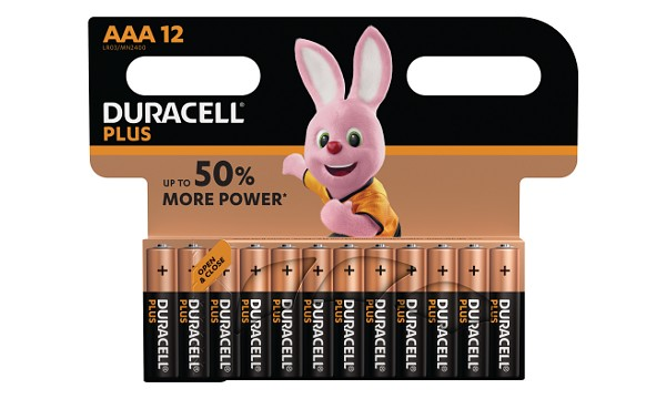Pile AAA 1,5V Duracell Plus Power Blister de 12 MN2400B12