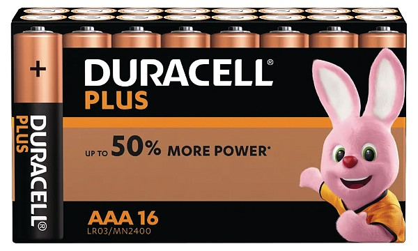 Pile AAA 1,5V Duracell Plus Power Blister de 16 MN2400B16